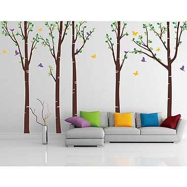 Pop Decors Tree Forest w/ Birds and Butterflies Wall Decal; Light Brown/Orange