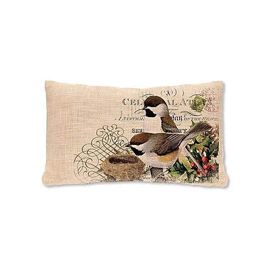 Heritage Lace Winter Garden Chickadees Lumbar Pillow