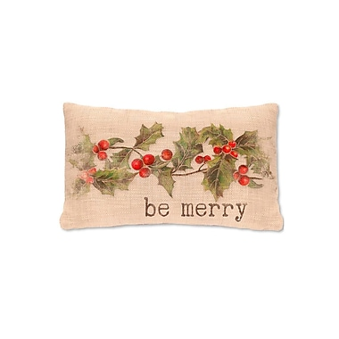 Heritage Lace Holly be Merry FabricLumbar Pillow