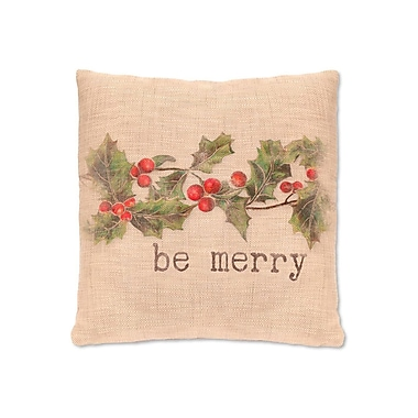 Heritage Lace Holly be Merry FabricThrow Pillow