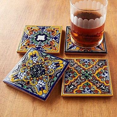 Native Trails Spanish Garden Hand Painted Tile Coasters (Set of 4)