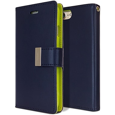 Mercury Rich Diary Cell Phone Case for iPhone 7, Navy/Lime (MR-RD-iP7-NL)