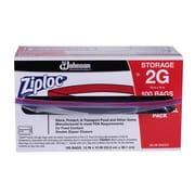 "Ziploc ® Double Zipper Plastic Storage Bag with Write On Panel, 2 gal, 13""(W) x 15 1/2""(L), Clear"