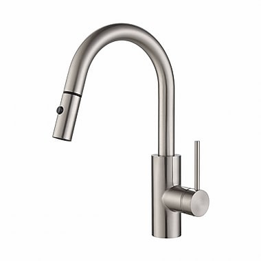 Kraus Oletto Single Handle Pull Down Kitchen Faucet; Stainless Steel