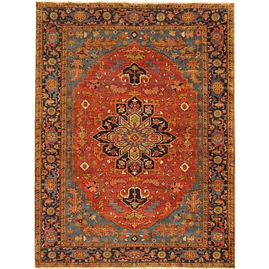 Pasargad Serapi Hand-Knotted Rust/Navy Area Rug; 8'7'' x 12'3''