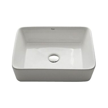 Kraus Ceramic Rectangular Vessel Bathroom Sink; Chrome