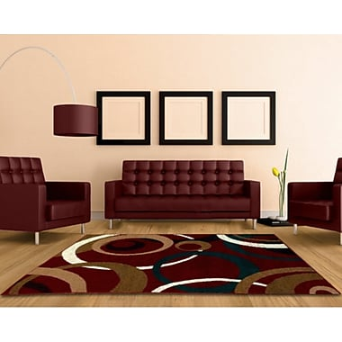 LYKE Home Abstract Red Area Rug; 8' x 10'