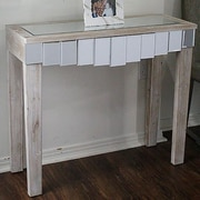 Heather Ann Catherine Mirrored Console Table; White Wash