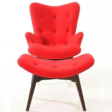 Edgemod Auzzie Lounge Chair and Ottoman; Red