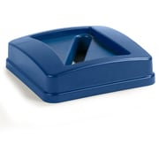Carlisle  Centurian™ Square RECYCLE Waste Container Lid with Paper Receptacle, 23 Gallon, Blue (343526REC14)
