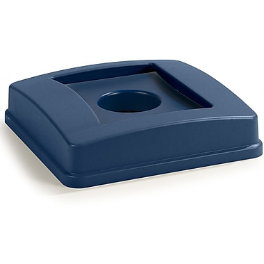 Carlisle Centurian™ Square RECYCLING Waste Container Lid with Bottle and Can Receptacle, 35 and 50 Gallon, Blue (343936REC14)