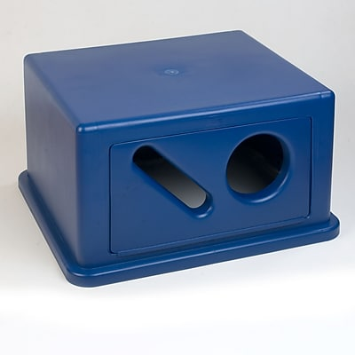 Carlisle Square RECYCLE Waste Container Hood with Can, Bottle and Paper Receptacle, 56 Gallon, Blue (344057REC14)