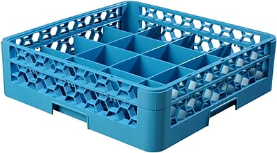 Carlisle OptiClean Tilted Cup Rack with One Open Extender, 16 Compartment, Carlisle Blue (RC16-114) 2428371