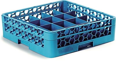 Carlisle OptiClean™ Tilted Cup Rack with One Open Extender, 20 Compartment, Carlisle Blue (RC20-114)