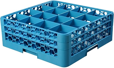 Carlisle OptiClean™ 16 Compartment Glass Rack with 2 Extenders, 7.12