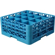 "Carlisle  OptiClean™ 16 Compartment Glass Rack with 3 Extenders, 8.72"", Carlisle Blue (RG16-314)"