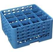 """Carlisle  OptiClean™ 16 Compartment Glass Rack with 4 Extenders, 10.3"""", Carlisle Blue (RG16-414)"""
