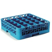 "Carlisle  OptiClean™ 25 Compartment Glass Rack with 1 Extender, 5.56"", Carlisle Blue (RG25-114)"