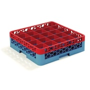 "Carlisle  OptiClean™ 25 Compartment Glass Rack with 1 Extender, 5.56"", Red-Carlisle Blue (RG25-1C410)"
