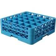 """Carlisle  OptiClean™ 25 Compartment Glass Rack with 2 Extenders, 7.12"""", Carlisle Blue (RG25-214)"""