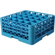 """Carlisle  OptiClean™ 25 Compartment Glass Rack with 3 Extenders, 8.72"""", Carlisle Blue (RG25-314)"""