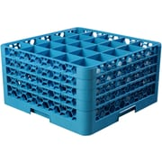 "Carlisle  OptiClean™ 25 Compartment Glass Rack with 4 Extenders, 10.3"", Carlisle Blue (RG25-414)"