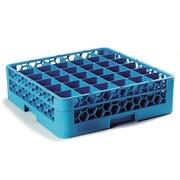 "Carlisle  OptiClean™ 36 Compartment Glass Rack with 1 Extender, 5.56"", Carlisle Blue (RG36-114)"