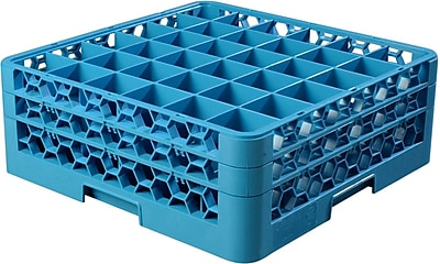 Carlisle OptiClean™ 36 Compartment Glass Rack with 2 Extenders, 7.12