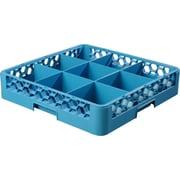 "Carlisle  OptiClean™ 9 Compartment Glass Rack, 4"", Carlisle Blue (RG914)"