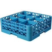 """Carlisle  OptiClean™ 9 Compartment Glass Rack with 2 Extenders, 7.12"""", Carlisle Blue (RG9-214)"""
