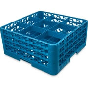 "Carlisle  OptiClean™ 9 Compartment Glass Rack with 3 Extenders, 8.72"", Carlisle Blue (RG9-314)"