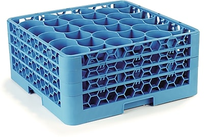 Carlisle OptiClean™ NeWave™ Glass Rack with Three Extenders, 30 Compartment, Carlisle Blue (RW30-214)