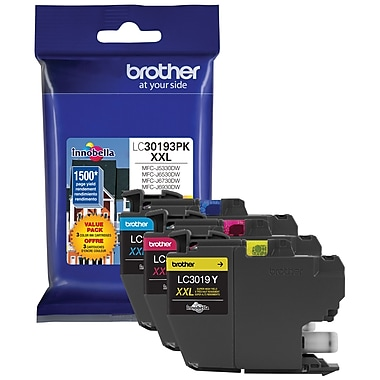 Brother - Cartouches d'encre LC3019 jaune/cyan/magenta Super haut rendement, paq./3 (LC30193PKS)