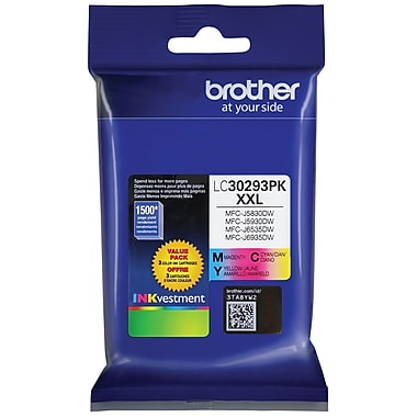 Brother – Cartouche d'encre tricolore jaune/cyan/magenta LC30193PKS, paq./3