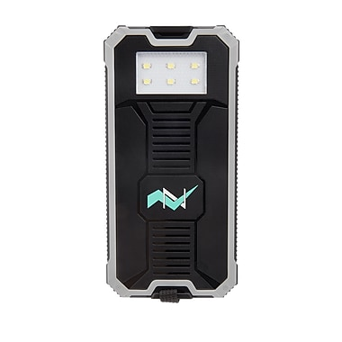 Z Bank 12,000 MAH Solar Charger with Built-In LED Light, Gray