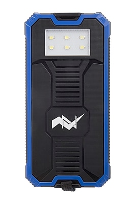 Z Bank 12,000 MAH Solar Charger with Built-In LED Light, Blue