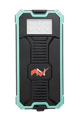 Z Bank 12,000 MAH Solar Charger with Built-In LED Light, Turquoise