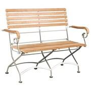 HiTeak Furniture Bistro Teak and Iron Garden Bench