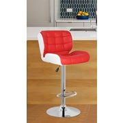 United Chair Industries LLC Adjustable Height Swivel Bar Stool; Red/White
