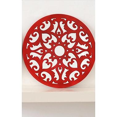 DrewDeRoseDesigns Round Decorative Accent Wall Mirror; Red