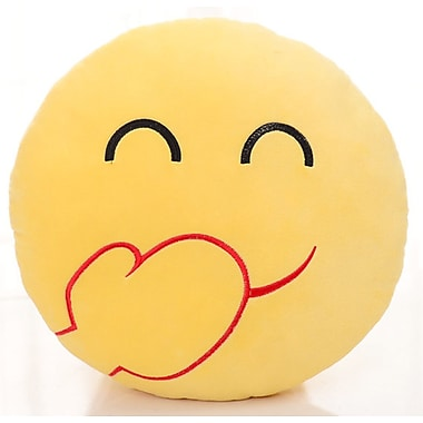 BH Home Emoji Series Expression Laughing Face Cotton Throw Pillow