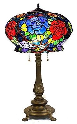 Warehouse of Tiffany Maxenne Roses 27'' Table Lamp; Bronze Base/Red Blue Shade