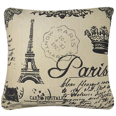 Park B Smith Ltd Paris Collage Printed Decorative 100pct Cotton Throw Pillow; Linen