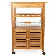 JA Marketing Bamboo Wood Bar Cart