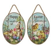 Glitzhome 2 Piece Handcrafted Egg Shaped Chick Bunny Wall Decor Set