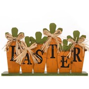 Glitzhome 6 Piece Handcrafted Wooden Easter Carrot Block