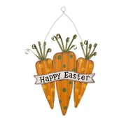 Glitzhome Carrot Handcrafted Iron Happy Easter Carrot Wall Hanging Sign