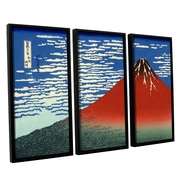 ArtWall Red Fuji by Katsushika Hokusai 3 Piece Framed Painting Print Set by