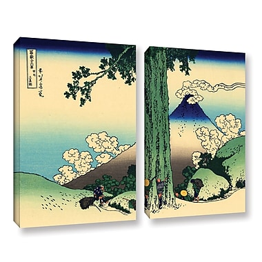 Mishima Pass in Kai Province by Katsushika Hokusai 2 Piece Painting Print on Wrapped Canvas Set