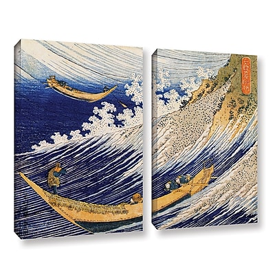 ArtWall Ocean Waves by Katsushika Hokusai 2 Piece Painting Print on Gallery Wrapped Canvas Set